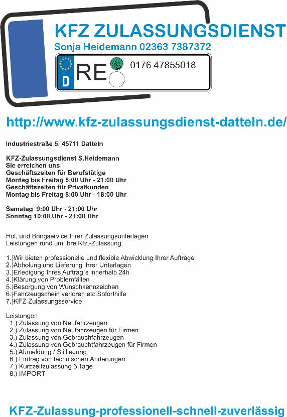kfz zulassung kfz zulassungsdienst kreis recklinghausen. Black Bedroom Furniture Sets. Home Design Ideas